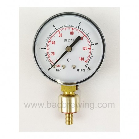 BacBrewing Aphrometer (0-10 Bar) for Bottles with Vent