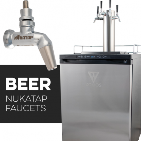 KOMOS V2 Kegerator with NukaTap Stainless Steel Faucets
