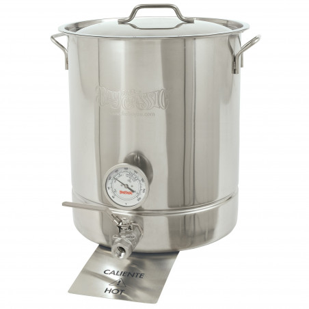 Bayou Classic 4 pc. Standard Brew Kettle Set - Stainless Stockpot, Lid, Spigot, Thermometer