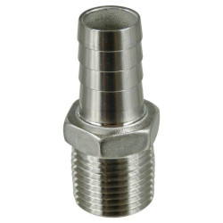 Stainless Barb - 1/2 in. MPT x 5/8 in. (1/2 in. ID)